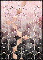 Pink Grey Gradient Cubes Juliste