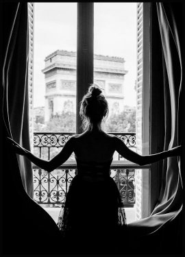 Girl in Paris Window Juliste