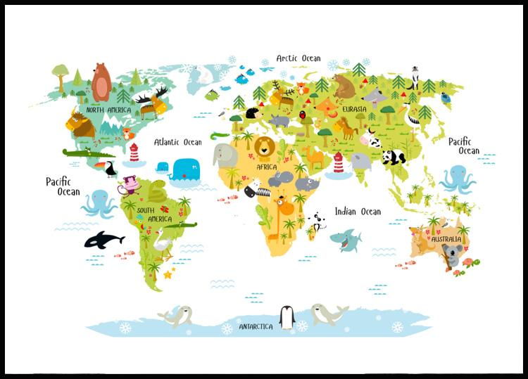 Animal World Map Juliste Posterstore Fi
